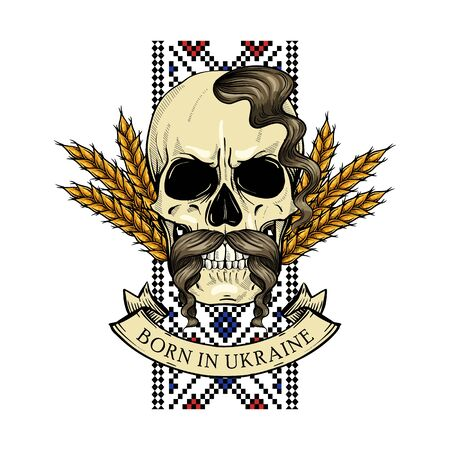 Hand drawn color sketch, skull with Ukrainian national embroidery pattern, mustaches, spikes of wheat. Poster, flyer design