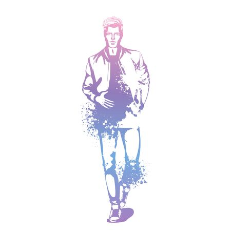 Vector man model dressed in jeans, t-shirt, bomber jacket and sneakers, splash stile