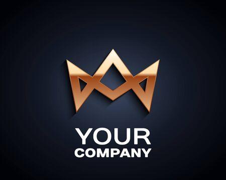 Crown Logo icon. Vector Design Element Vintage Style for Logotype, Label, Badge, Emblem. Иллюстрация