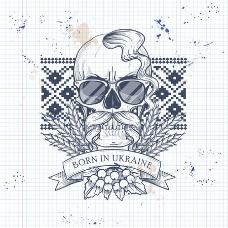Notebook page sketch design, skull with Ukrainian embroidery pattern, mustaches, spikes of wheat, branch of viburnum, sunglasses Illustration
