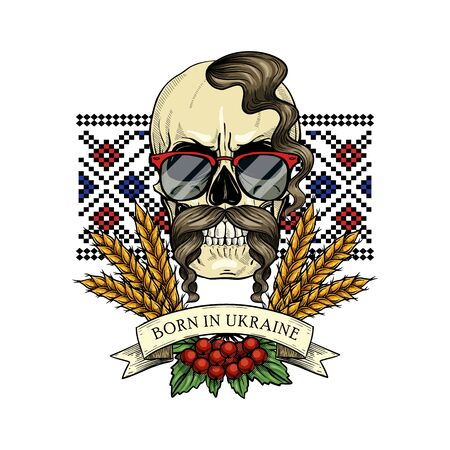 Hand drawn color sketch, skull with Ukrainian embroidery pattern, mustaches, spikes of wheat, branch of viburnum, sunglasses. Poster, flyer design Ilustración de vector