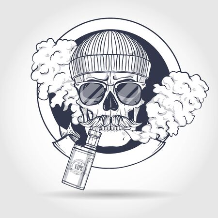 Sketch of hipster skull with knited hat, mustaches, sunglasses, vaporizer cigarette and clouds of smoke