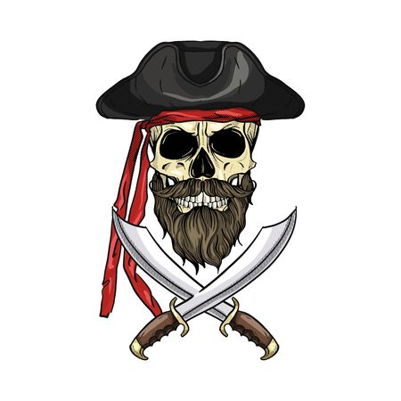 Hand drawn color sketch, pirate skull with sword, beard and mustaches and pirate hat. Poster, flyer design Standard-Bild - 129478989