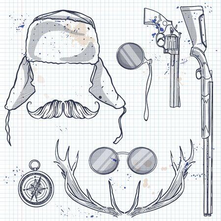 Attributes of hunter icon Stockfoto - 129686211