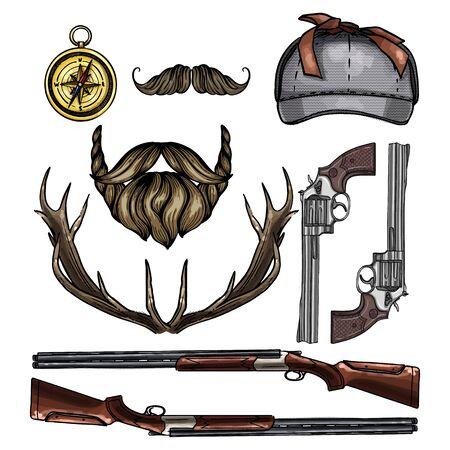Attributes of hunter icon Stock Illustratie