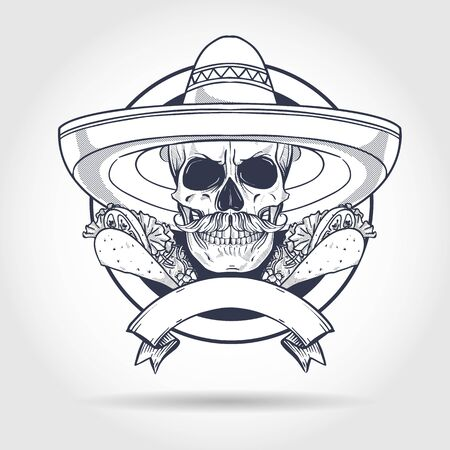 Hand drawn sketch, skull with taco, sombrero and mustaches