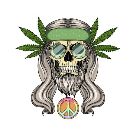 Hand drawn color sketch, hippie skull with sunglasses, long hair and hemp leaf. Poster, flyer design
