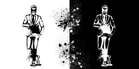 Vector man model dressed in pants, shirt, jacket and loafers, splash stile  イラスト・ベクター素材