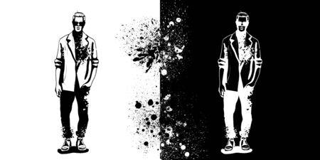 Vector man model dressed in jeans, shirt, linen jacket and sneakers, splash stile Illustration