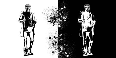 Vector man model dressed in jeans, t-shirt, sneakers and jacket, splash stile Illustration