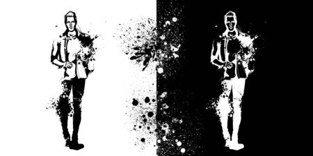 Vector man model dressed in jeans, T-shirt, shirt and shoes, splash stile Illustration
