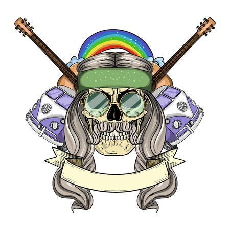 Hand drawn color sketch, hippie skull with hair, sunglasses, hippie bus, rainbow and guitar. Poster, flyer design