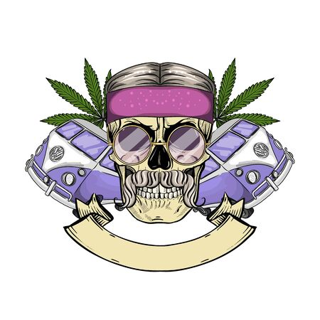 Hand drawn color sketch, hippie skull with sunglasses, hippie bus, and hemp leaf. Poster, flyer design