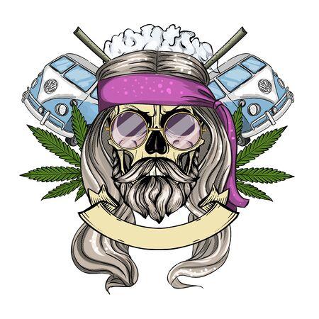 Croquis de couleur dessiné à la main, crâne hippie avec lunettes de soleil, bus hippie, ?igarettes et feuille de chanvre. Affiche, conception de flyer