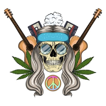 Hand drawn color sketch, hippie skull with sunglasses, guitar, audio cassettes and hemp leaf. Poster, flyer design 일러스트