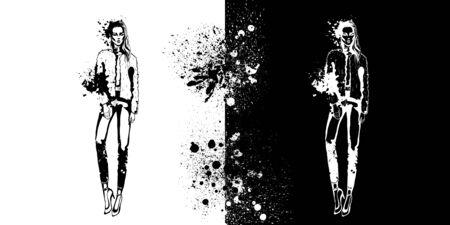 Sketch of Trendy look girls with splashes Archivio Fotografico - 130039809