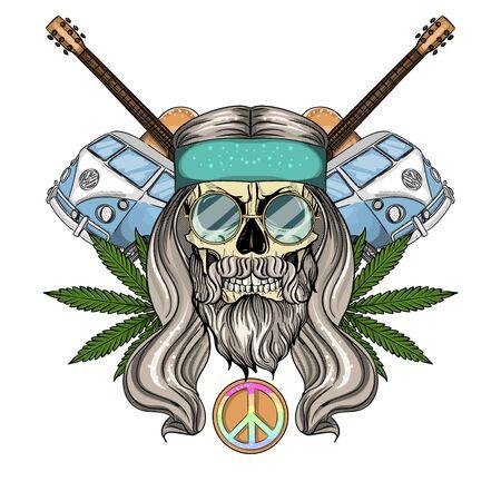 Hand drawn color sketch, hippie skull with sunglasses, long hair, hippie bus, guitar and hemp leaf. Poster, flyer design Ilustração