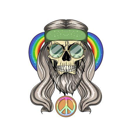 Hand drawn color sketch, hippie skull with hair, sunglasses and rainbow. Poster, flyer design Ilustração