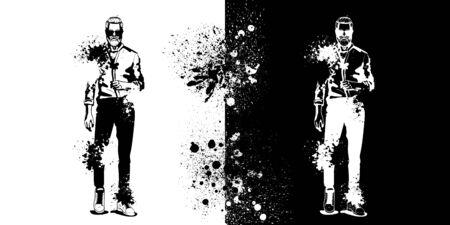 Vector man model dressed in pants, shirt, sneakers and suglasses, splash stile