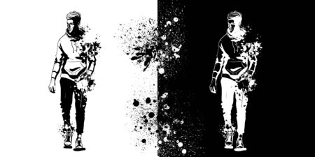 Vector man model dressed in pants, hoody and sneakers, splash stile