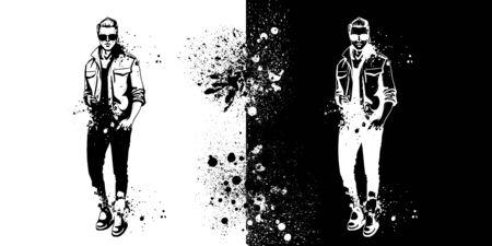 Vector man model dressed in pants, shirt, t-shirt, shoes and sunglasses, splash stile