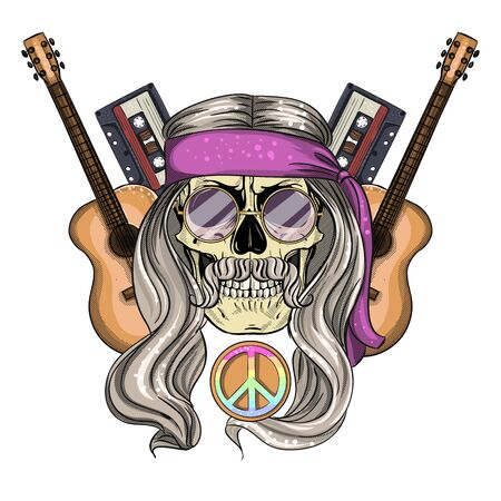 Hand drawn color sketch, hippie skull with hair, sunglasses, audio cassettes and guitar. Poster, flyer design