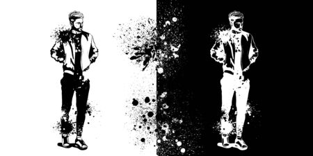 Vector man model dressed in sports trousers, t-shirt, bomber jacket and sneakers, splash stile