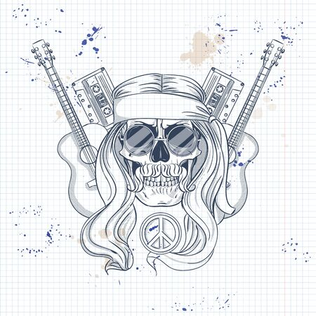 Hand drawn sketch, hippie skull with hair, sunglasses, audio cassettes and guitar. Poster, flyer design on a notebook page