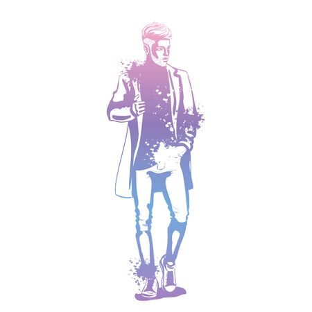 Vector man model dressed in jeans, t-shirt, sneakers and jacket, splash stile