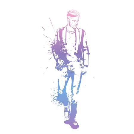 Vector man model dressed in jeans shoes classic jacket and t-shirt splash stile  イラスト・ベクター素材