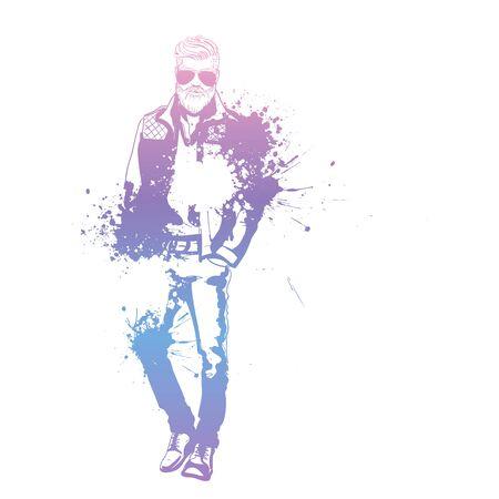 Vector man model with sunglasses splash stile