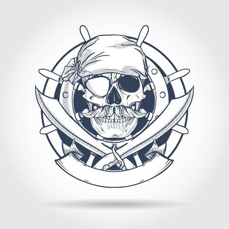 Boceto dibujado a mano, calavera pirata con espada, bigotes, pañuelo pirata, parche en el ojo y volante del barco. Póster, diseño de flyer Ilustración de vector