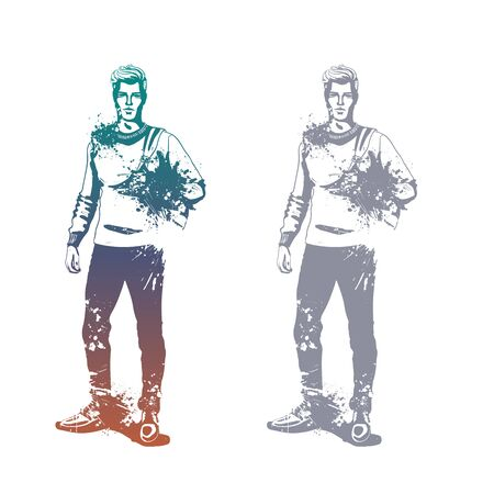 Vector man model dressed in jeans, pullover and shoes with backpack, splash stile