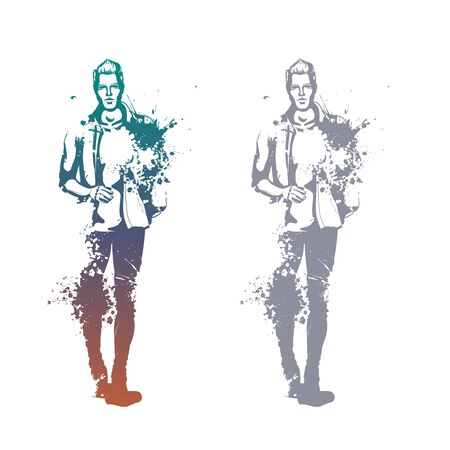 Vector man model dressed in jeans, T-shirt, shirt and shoes, splash stile  イラスト・ベクター素材