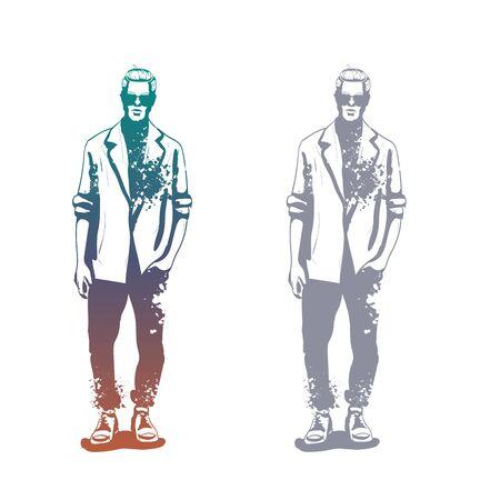 Vector man model dressed in jeans, shirt, linen jacket and sneakers, splash stile  イラスト・ベクター素材