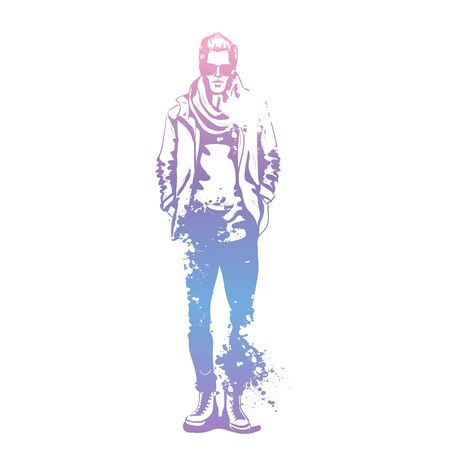Vector man model dressed in jeans, t-shirt, jacket, sneakers, scarf and sunglasses, splash stile Illustration