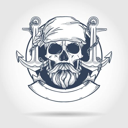 Hand drawn sketch, pirate skull with anchor, beard and mustaches and pirate head scarf. Poster, flyer design
