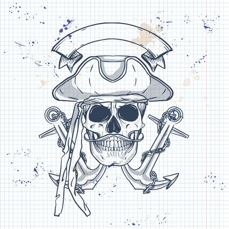 Sketch, pirate skull with anchor, mustaches and pirate hat. Poster, flyer design on a notebook page
