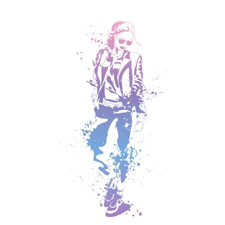 Sketch of Fashion look girl with splashes Çizim