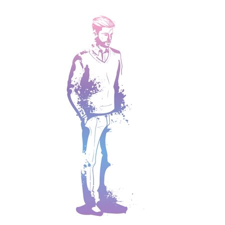 Vector man model dressed in pullover, pants and shoes, splash stile