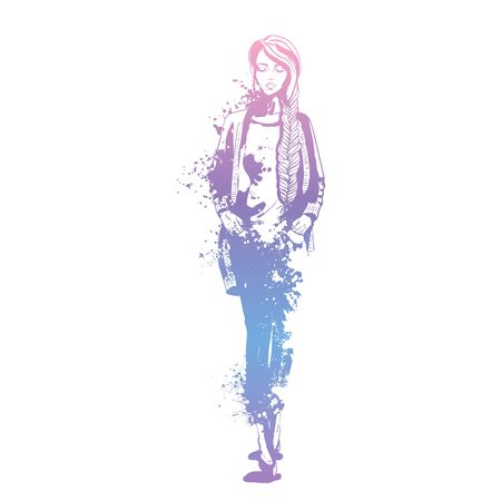 Sketch of trendy look girl with splashes