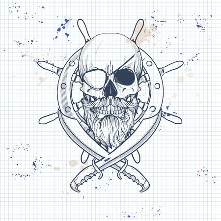 Sketch, pirate skull with sword, beard and mustaches, eye patch and ship s steering wheel. Poster, flyer design on a notebook page Illusztráció