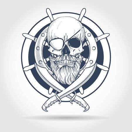 Hand drawn sketch, pirate skull with sword, beard and mustaches, eye patch and ship's steering wheel. Poster, flyer design