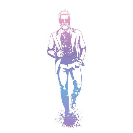 Vector man model dressed in pants, shirt, jacket and shoes, splash stile