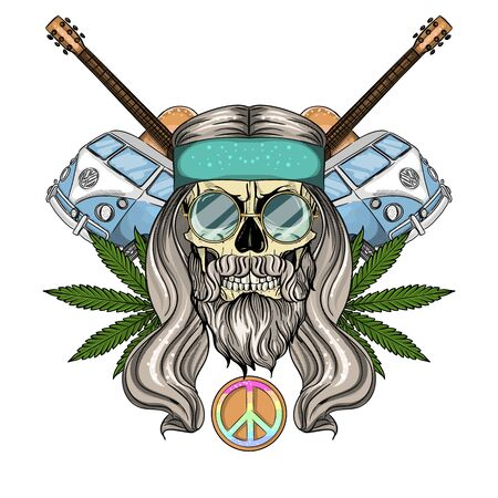 Hand drawn color sketch, hippie skull with sunglasses, long hair, hippie bus, guitar and hemp leaf. Poster, flyer design