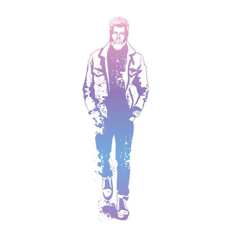 Vector man model dressed in jeans, pullover, jeans jacket, and anb boots, splash stile