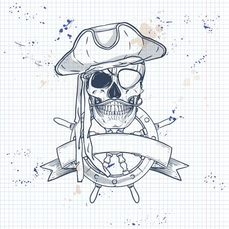 ketch, pirate skull with mustaches, pirate hat, eye patch and ships steering wheel. Poster, flyer design on a notebook page