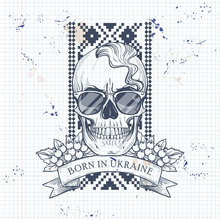 Notebook page sketch design, skull with Ukrainian embroidery pattern, mustaches, branches of viburnum, sunglasses, oseledets hairstyle