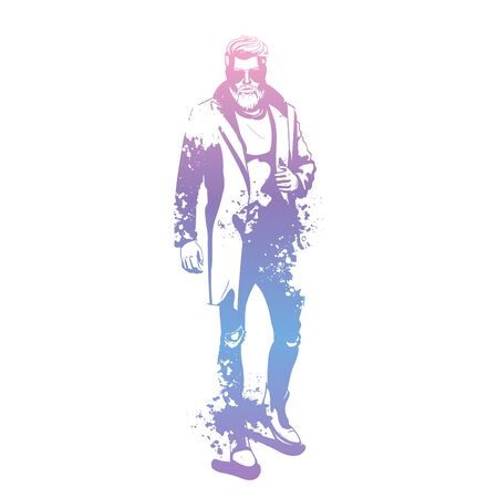Vector man model dressed in jeans, pullover, coat and boots, splash stile