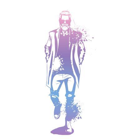 Vector man model dressed in jeans, shirt, pullover, coat anb boots, splash stile  イラスト・ベクター素材